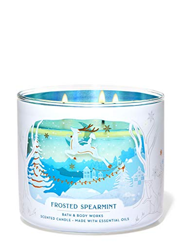 Bath and Body Works White Barn Frosted Spearmint 3 Wick Candle 14.5 Ounce Winter 2020 Reindeer Label