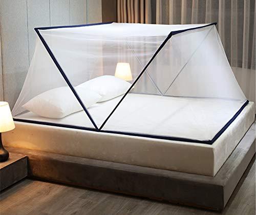 Hayisugal Faltbare Mückennetz Moskitonetz für Doppelbett Tragbare Bettnetz Fliegennetz Zelt Reise Insektennetz für Schlafzimmer Outdoor Camping, feinste Löcher, Dunkelblau, L*W*H 190x135x80cm
