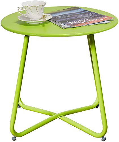 Grand patio Small Side Table,Various of Colours, Round Metal End Table,Lightweight, Weather Resistant, Beside Table for Living Room, Hallway, Bedroom, Garden, Terrace, Balcony (Lime Green)