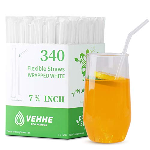 VEHHE Plastic Straws Disposable Drinking Straw Individually Wrapped 330-Pack,BPA Free - Restaurant...