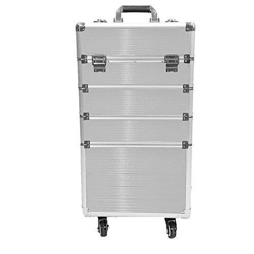 MCTECH® 4 Ebenen Kosmetikkoffer Trolley BeautyCase Alu Suite-Case Schmink-Koffer Etagenkoffer mit Aktivitäten Räder, 4 in 1 XXL (Silber)