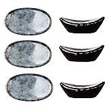 UPKOCH 6 pcs Glazed Ceramic Table Ingot-Shaped Spoon Fork Knife Holder Decor Stand Chopsticks Pillow Rack for Home (Grey Blue)