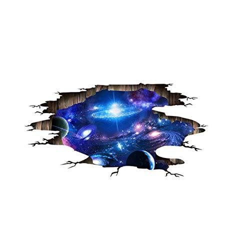 XCGZ Wandsticker 3D Blue Galaxy Planet Weltraum Wandaufkleber Schlafzimmer Wohnzimmer Dekoration Tapete Kinderzimmer Boden Aufkleber