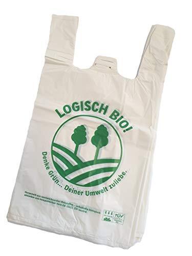 500 Stück Bio Tragetasche Hemdchen Logisch 28 + 14 x 48 cm - voll kompostierbar