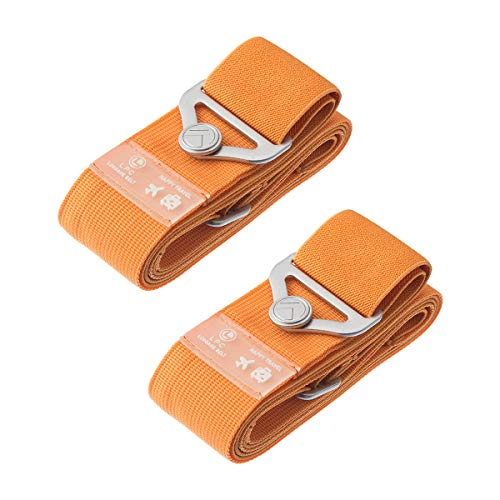 Luggage Straps Suitcase Bungee Belts Travel Accessories Bag Straps (2-pack Orange)