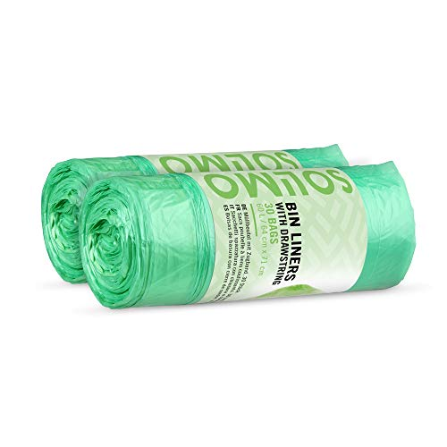 Marchio Amazon - Solimo Sacchetti spazzatura con chiusura a cordoncino - 60 Litri - 2 x 30 pezzi