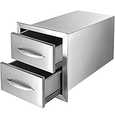 """Mophorn 14x14.3 Inch Outdoor Kitchen Drawers Stainless Steel Flush Mount 14"""" Wx14.3 Hx23 D with Handle for BBQ, 14 x 14.38 x 22.8 Inch"""