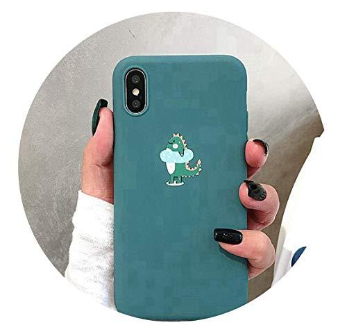 Capas Case for iPhone 8 7 Plus X XS 6 S Luxury Dinosaur Lovely Silicon Slim 360 for Coque 8plus 7plus 6s Phone Bags case,Milky White,for iPhone 7 Plus