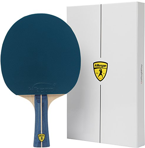 Killerspin JET200 BluVanilla Ping Pong Racket – Beginner Table Tennis Racket| 5 Layer Wood Blade, Jet Basic Rubbers, Flared Handle| Practice Quality Ping Pong Racket| Memory Book Gift Box Storage Case