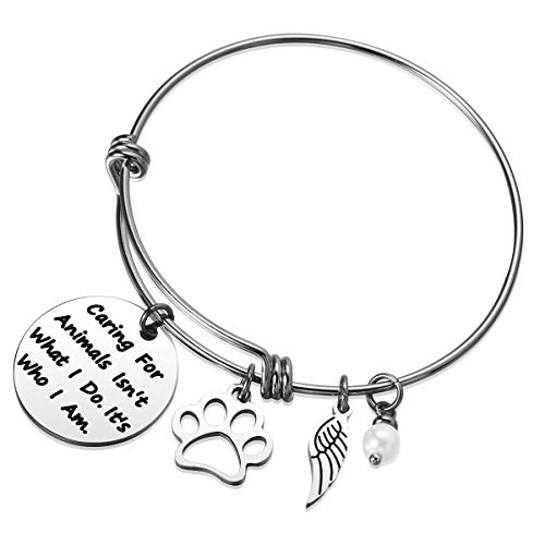 JZSTA Animal Lover Gifts for Women Best Pet Lover Gifts for Veterinarian, Dog Mom, Cat Mom, Animal Rescue, Vet Tech Caring for Animals is Who I Am Bangle Bracelet