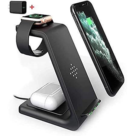 PRDLIMG Wireless Charger Stand, 3 in 1 Fast Wireless Charging Station Dock for Airpods Pro 2, Apple Watch Series 5/4/3/2, iPhone 11/11 Pro/11 Pro Max Qi Certified Phones(with QC 3.0 Adapter