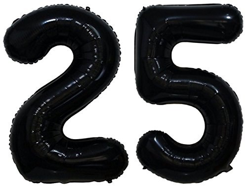 ZiYan 40 Inch Giant 25th Black Number Balloons,Birthday/Party balloons