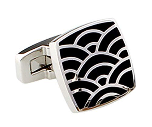 Epinki Cufflinks for Men Square Cubic Zirconia and Fan Pattern Cufflinks Best Wedding Business Gifts for Men with Box