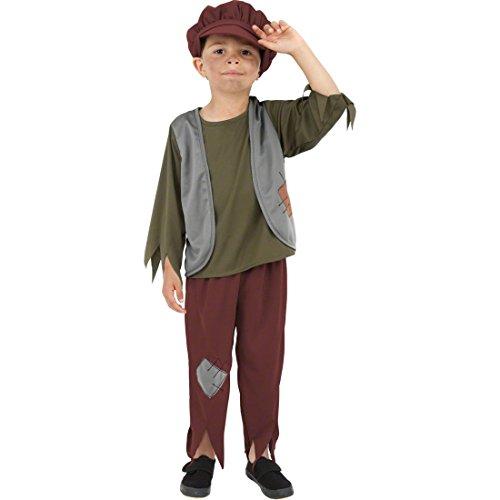 NET TOYS Kinder Bauernkostüm Bettler Kostüm Mehrfarbig M 140 cm Bettlerkostüm Junge Mittelalterkostüm Kinder Kinderkostüm Straßenjunge