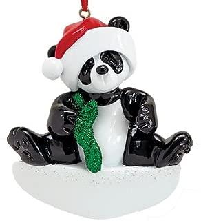 Personalized Bamboo Panda Christmas Tree Ornament 2019 - Cute Playful Baby Bear Santa Hat Holiday Kid Glitter Red Green Child Grand-Son Daughter Love Year - Free Customization