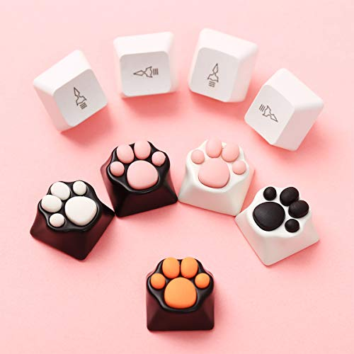 2 Pack Custom Keycaps Metal and Rubber Keycaps Keyboard Keycaps Cat Paw Shaped Kawaii Keycaps Cute Gaming Keycaps for Mechanical Keyboard with Keycap Puller (Black and White)