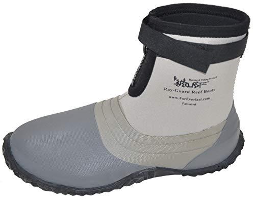 Foreverlast Ray-Guard Reef Wading & Fishing Boots Generation II for Men and Women, Grey, Size 11, Hard Soled Vulcanized Rubber Bottom, Neoprene, Lightweight, Waterproof (APBZA1010NFSkE)