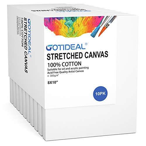 """GOTIDEAL Stretched Canvas, 8x10"""" Inch Set of 10, Primed White - 100% Cotton Artist Canvas Boards for Painting, Acrylic Pouring, Oil Paint Dry & Wet Art Media"""