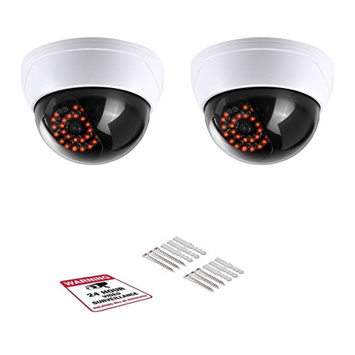 Simulated Surveillance Cameras, Dummy Security Camera, Fake Cameras CCTV Surveillance Systemwith Realistic Simulated LEDs,for Home Security Warning Sticker Outdoor/Indoor Use (2pack)