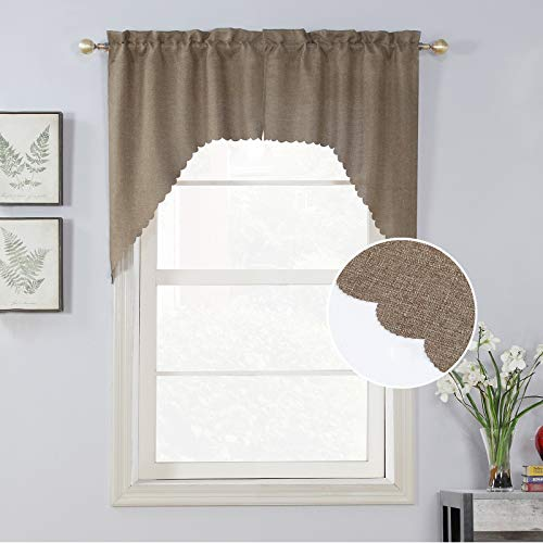 Rama Rose Soft Burlap Look Swag Curtains Rustic Rod Pocket Farmhouse Valance Curtain Panels for Small Window, 38 Inch Length, 2 Panels, Natural Taupe