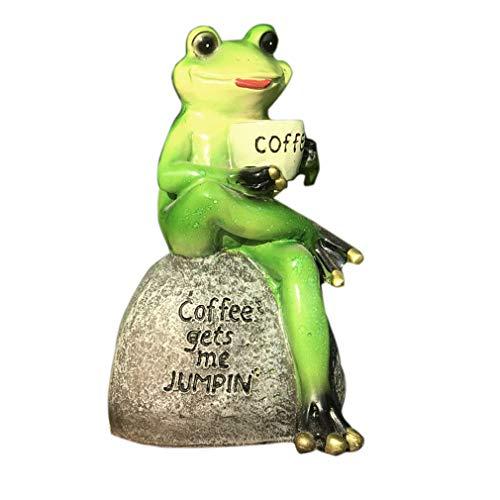 Cutfouwe Harz Frosch Kreativer Grüner Frosch Sitzt Auf Stein Statue Kaffee Zu Trinken Innen Außen Garten Villa Hof Statue Dekoration Sammler Frosch,Grün