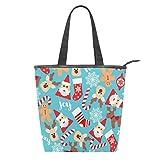 Bolsa de lona para mujer, diseño de Papá Noel, para invierno, con copos de nieve, reutilizable, para compras, para gimnasio, senderismo, picnic, viajes