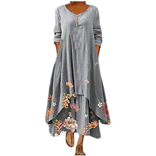 Qigxihkh Damen Sommer Rock Lässig Mode Kleider Bequem Frauen Röcke Damen lässig Kleid mit Blumendruck O-Ausschnitt Langarm Unregelmäßiges lockeres langes Kleid(Grau, XL)