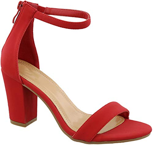 Top Moda Hannah-1 Ankle Strap High Heel Sandal Red Nubuck Open Toe Pump (7.5, Red/H1h)