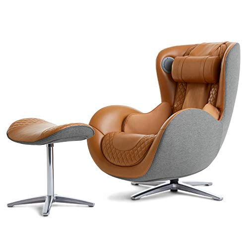 Nouhaus Classic Massage Chair with Ottoman. Caramel Leather Chair, with Percussive & Shiatsu Chair Massager, Bluetooth Speaker and Recliner. Comfy Lounge Chair with Spot and Full Body Massager