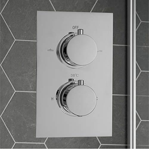 ENKI Miscelatore termostatico a incasso per doccia 2 manopole / 2 vie rotonda