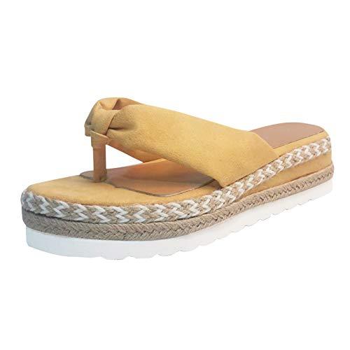 ciabatte donna casa zeppa ciabatt morbid donna sandali donna tacco medio scarp donna zeppa comod sandali donna estive scarp gomma donna (Giallo,38 EU)