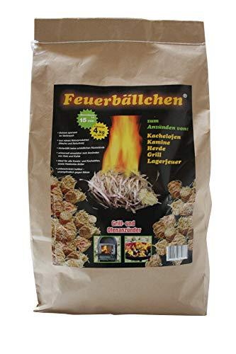 RaiffeisenWaren Kaminanzünder, Feueranzünder, Feuerbällchen 4,0 kg (Anzünder ökologisch, aus Naturprodukten - Wachs, Naturholz; Brenndauer ca. 10 min)
