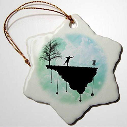 BYRON HOYLE Phil Perkins Disc Golf Putt Plastic In Its Place Disc Golf Silhouette Putting with Blue Skies Snowflake Ornament Christmas Ornaments Pandemic Xmas Decor Holiday present