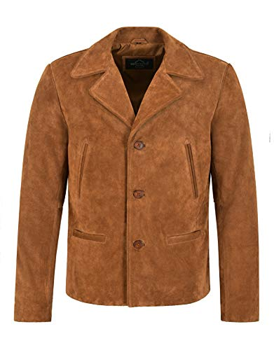 Smart Range Leather Giacca da Uomo in Pelle Scamosciata Anni '70 Giacca Classica Colletto Giacca in Vera Pelle Vintage 4162 (M)