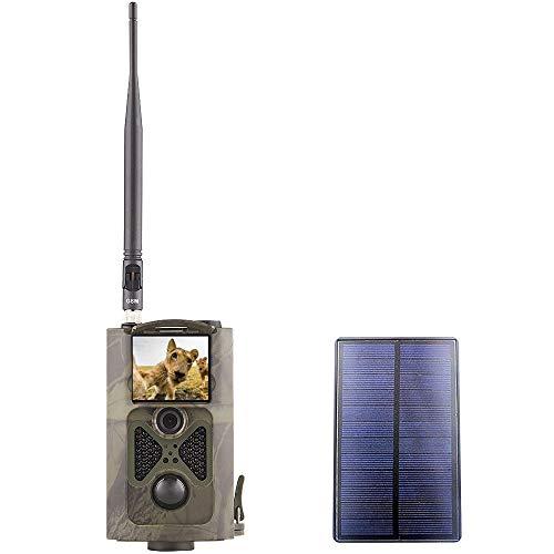 YTLJJ HC-550G 3G Wildkamera Fotofalle 16MP 1080P mit Handy übertragung, Jagdkamera 3G GSM GPRS Low-Glow 940nm IR-LEDs, Infrarot-Nachtsicht 20m, IP54 wasserdichte mit 32G SD-Karte und Solar Panels
