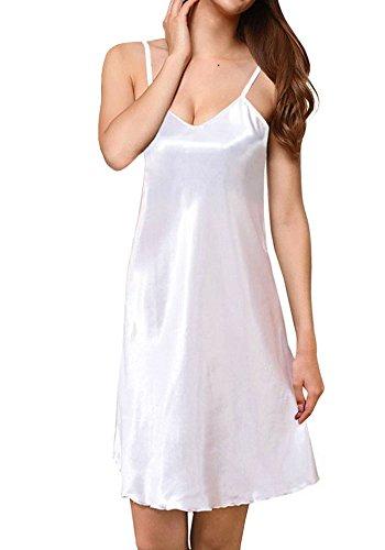 Avondii Damen Seide Nachthemd Unterkleid V-Ausschnitt Kurz Unterrock mit Trägern (3XL, Weiß)