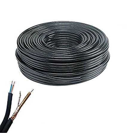Bobina de cable de vídeo coaxial RG59 + 2 cables alimentación 200 m 0,58 mm CCTV para cámaras de videovigilancia alta calidad profesional