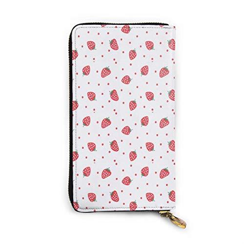 Strawberry Portefeuille en Cuir véritable Portefeuille Long en métal avec Fermeture éclair Portefeuille élégant pour Homme Grande capacité Multifonction