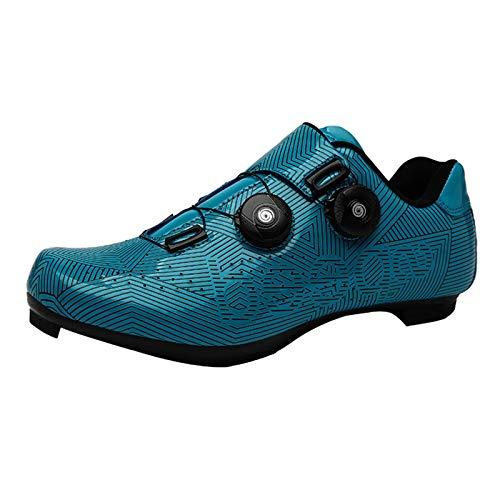 MJ-Brand Zapatillas de Ciclismo - Tacos Transpirables Resistentes al Desgaste y de Carretera de Fibra de Carbono, compatibles Unisex, con Tacos SPD Bicicletas de Carreras de Carretera con Tacos