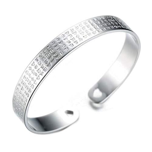 Pulsera de plata esterlina para mujer Pulsera tallada Corazón Sutra Lotus Joyería de moda retro para hombres y mujeres