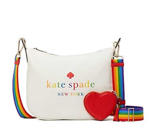 Kate Spade Pride Rainbow Leather Crossbody Bag Purse Handbag, White Dove