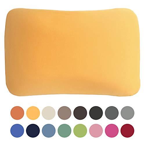 Edda Lux Bezug für Tempur Symphony S/M Schlafkissen | Hochwertiger Jersey-Kissenbezug mit Reißverschluss | 63x43 cm | 100% Baumwolle | Farbe Honig