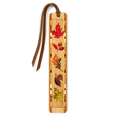 Personalized Fall Leaves, Engraved and Colorized Wooden Bookmark with Suede Tassel - Search B013IMBNQG for Non-Personalized Version