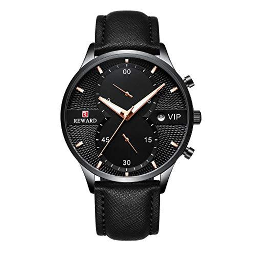 FAPROL-REWARD Analoguhr Für Herren, Kalenderfenster Quarzarmbanduhr, Männer Chronograph, Business Precision Uhren Lederband Black