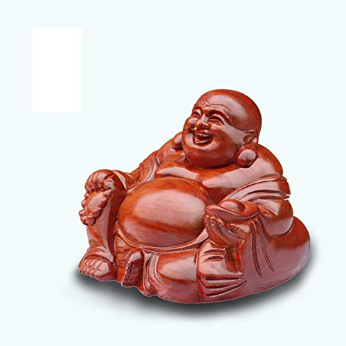 Chinese Statuette Buddha Feng Shui Decor Statues of Red Wood Buddha Laughing Good Luck Attract Wealth Gifts for The congratulatory and Office House,S