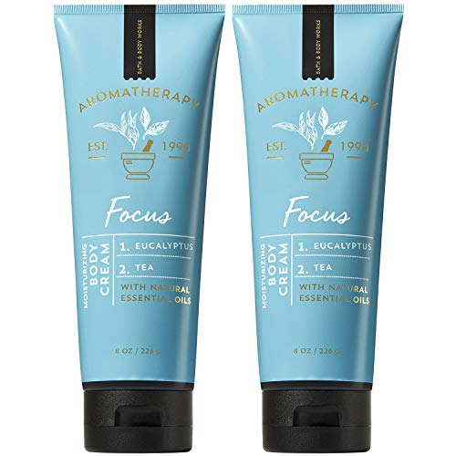 Bath and Body Works 2 Pack Aromatherapy Focus Eucalyptus & Tea Body Cream. 8 Oz.