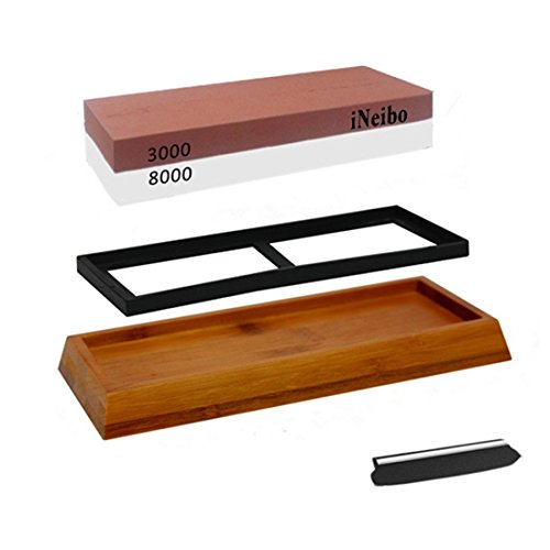 iNeibo Schleifstein Abziehstein 2 in 1 Messerschärfer mit rutschfestem Bambus-Holzsockel, Silikonauflage und Winkelhalter. 3000 8000 Doppel Körnung