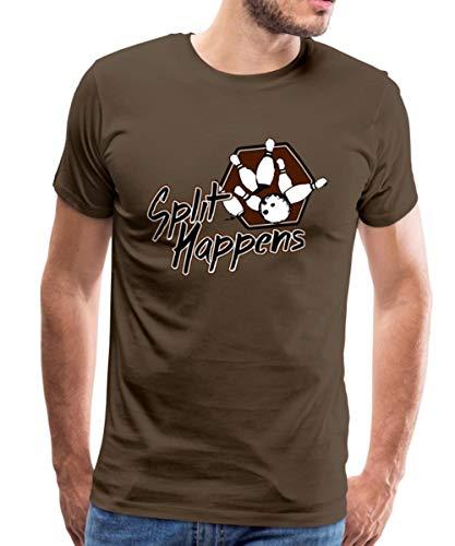 Bowling Split Happens Männer Premium T-Shirt, 4XL, Edelbraun
