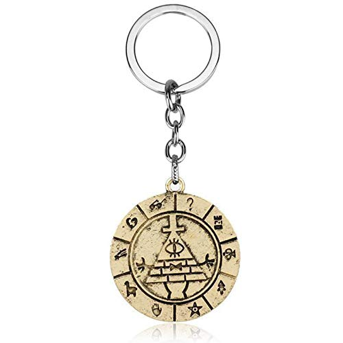 YTO European and American peripheral accessories, bizarre town Bill Time vintage keychain(Color:Golden)
