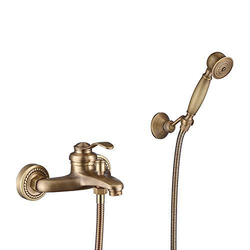 HomeLava Wannenarmatur Antik Messing Bad Dusche Armaturen Set Badewanne Wasserhahn Wandmontage mit Handbrause